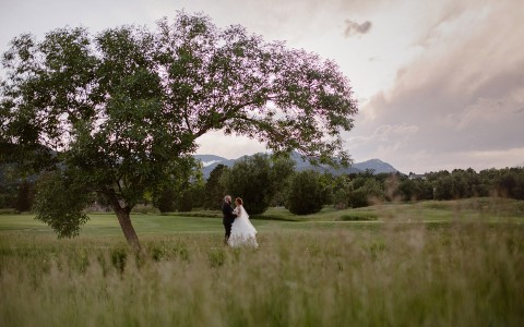 Elizabeth Ann Photography - bride and groom on golf course under tree