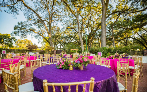 Indian Wedding reception table setup with gold accents