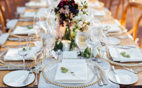 Table setup for a wedding reception, Jihan Cerda photography