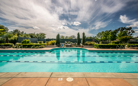 Swimming pool located at the Silverado Spa with views of the Bocce Garden and Tennis courts