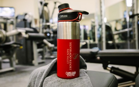 Silverado Resort branded water bottle located at the gym at Spa Silverado