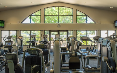 The gym at the Silverado Spa is home to various TechnoGym exercise equipment, perfect for a quick workout after wining and dining around Silverado Resort.