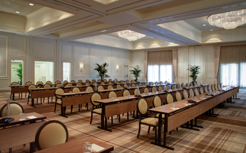 theatre style meeting setup in ballroom