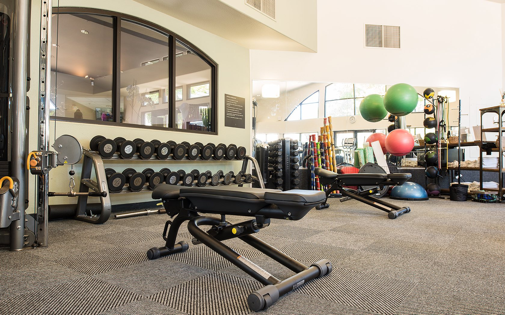 Inside the fitness center located at the Spa at Silverado