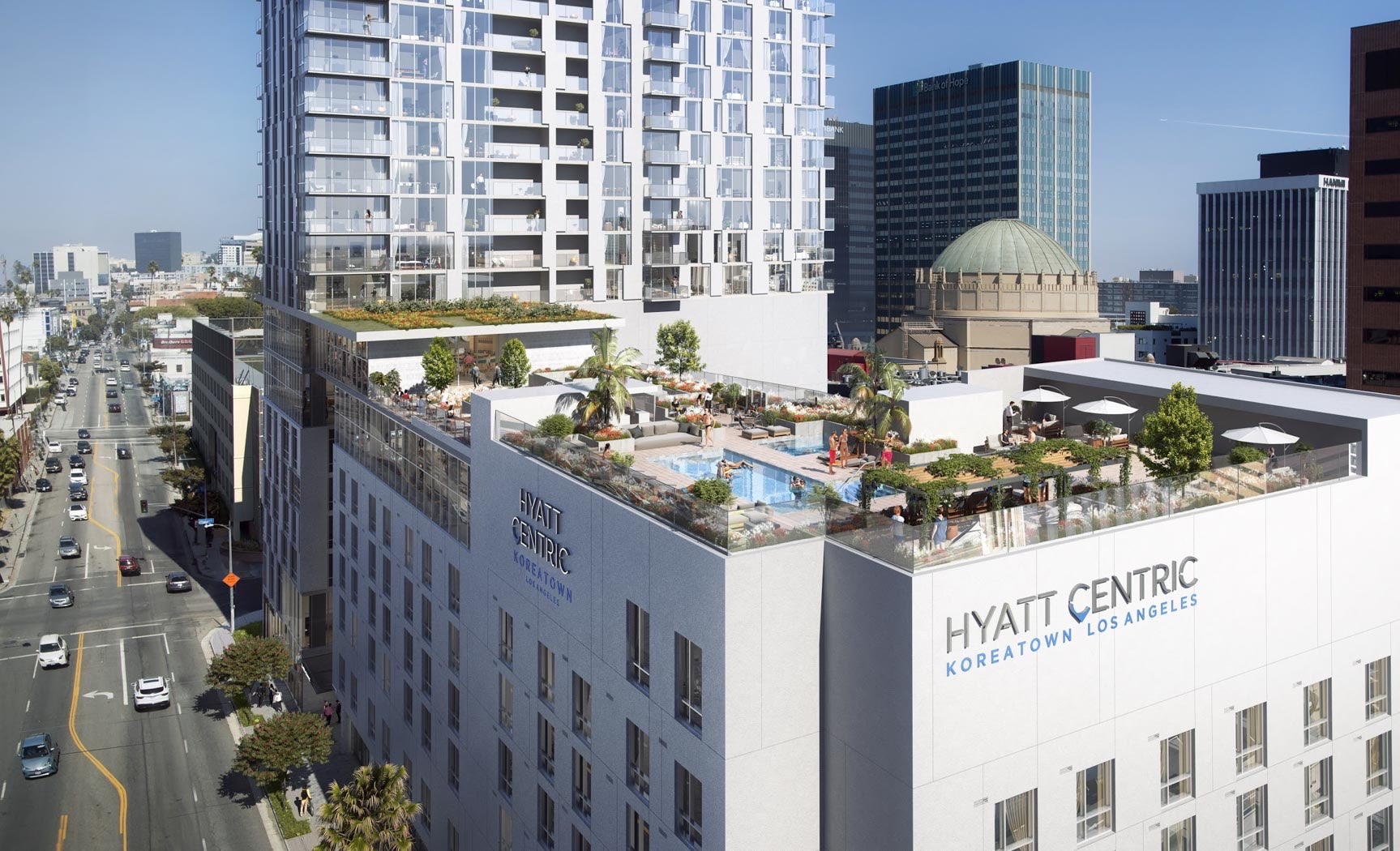 Aerial shot of rooftop pool of Hyatt Centric