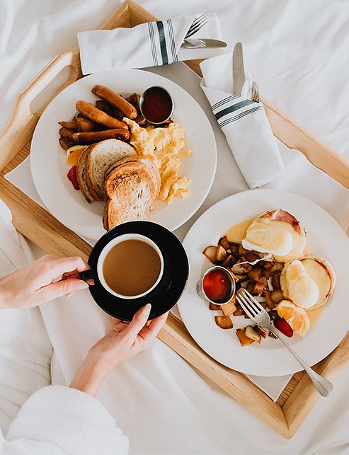 Overhead shot of breakfast in bed