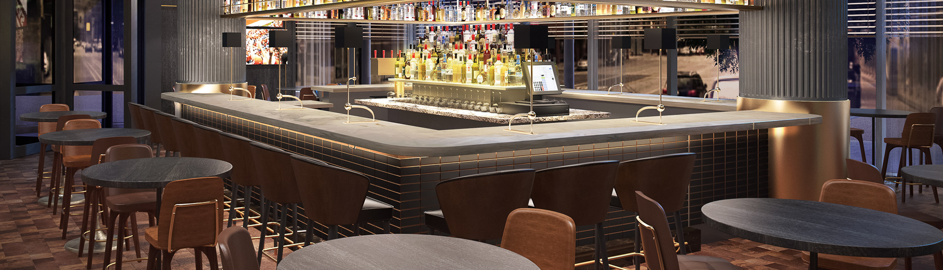 rendering of a bar area