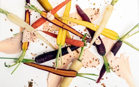 carrot and root vegetables on a white plate