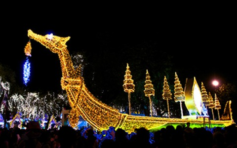 12 Marina Del Rey Boat Parade with giant dragon boat decorated in lights