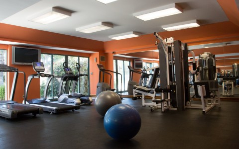 Airtel fitness center containing a wide variety of gym equipment