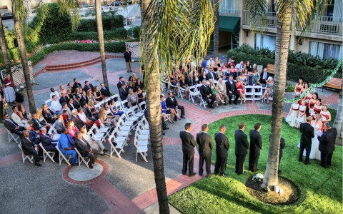 outdoor wedding reception surround by palm trees