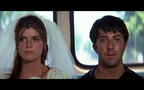 Katherine Ross and Dustin Hoffman in the Closing Scene of The Graduate