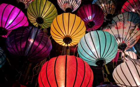 multicolored asian sky lanterns