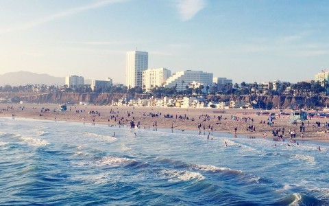 santa monica beach view of shore and buildings