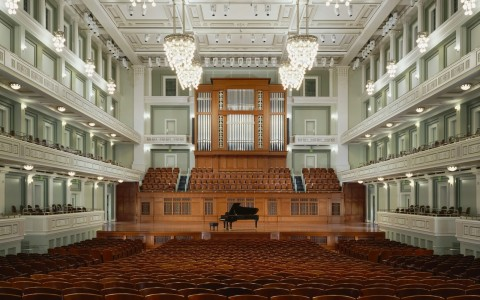 Nashville Symphony Hall theater with grand piano on stage