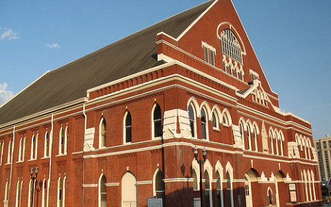Ryman Auditorium Outside View Red brick with white  trim