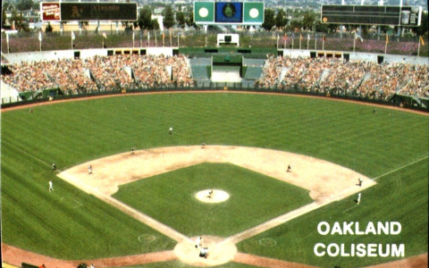 Grainy Vintage Shot of Oakland Coliseum during As baseball game