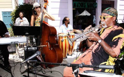 fillmore jazz festival. Local musicians play Jazz music on the street