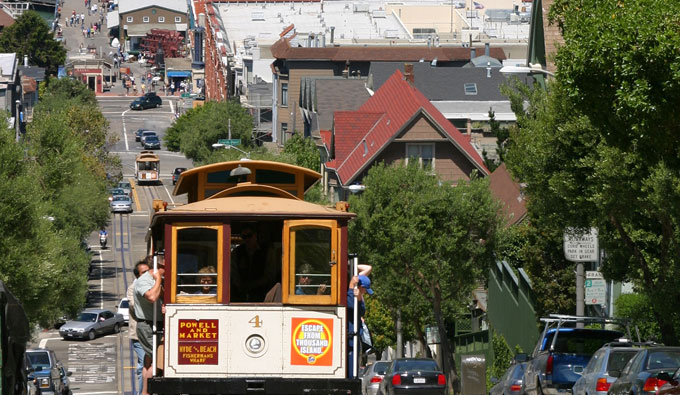 trolly going up hill