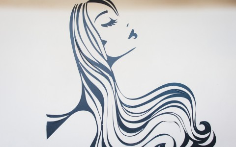 Vinyl decal on wall of womens profile and long flowing hair.