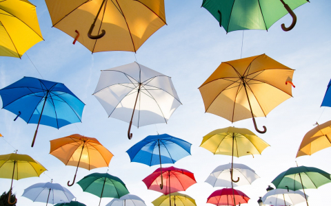 colorful umbrellas in sky