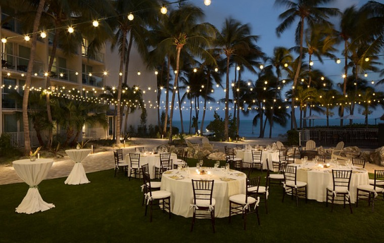 Wedding setup outside at dusk