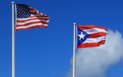 American flag next to puerto rican flag