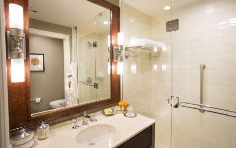 Bathroom with One Vanity and Towel Rack on the Right