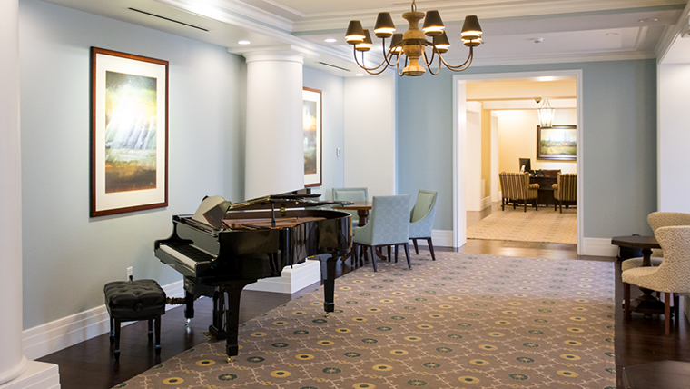 interior hallway with piano