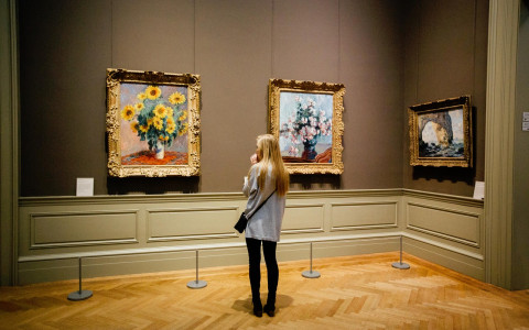 Woman looks at paintings in a museum