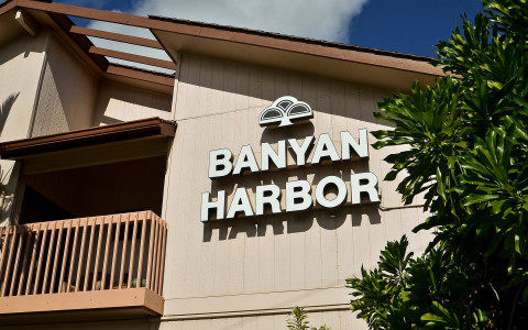 Banyan Harbor logo on the building facade