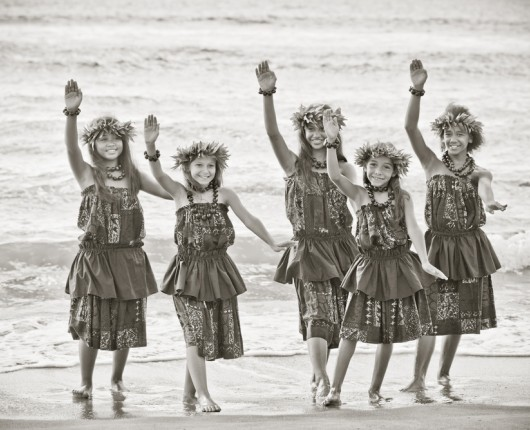 black and white photo of hula dancers