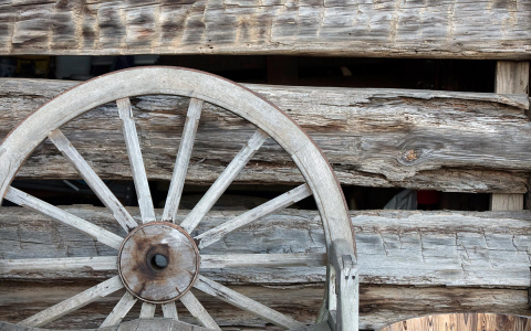 close up of wooden wheel