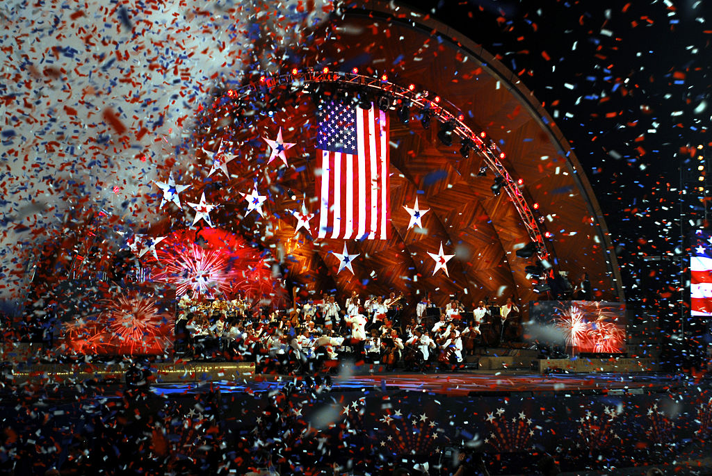 Confetti Falling at Fourth of July Boston Pops Esplanade Orchestra Concert