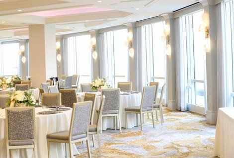 meeting space with silver and gold decorations