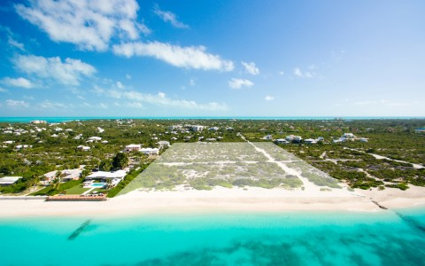 aerial view of undeveloped beachfront property lot