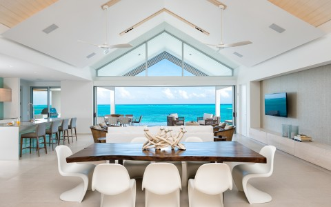 dining room with stunning ocean view