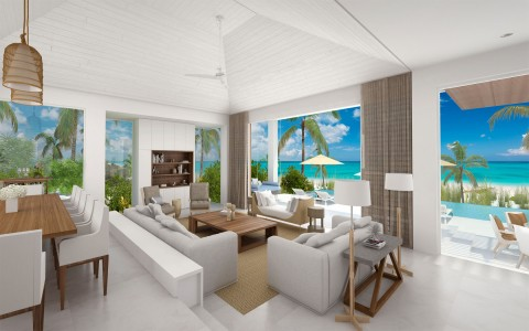 living room with couches in design a villa there is a ocean view