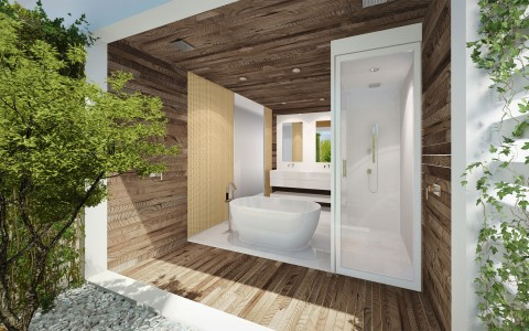 master bedroom bathroom all wood with large bath tub