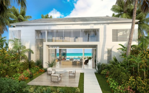 view of design b villa with ocean front view