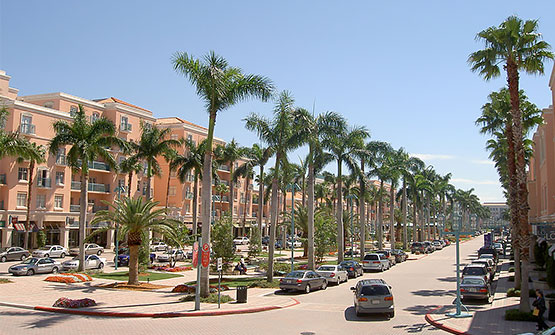 Mizner Park shopping plaza with palm trees