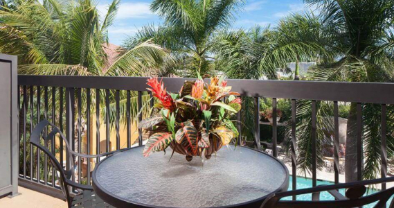 Tropical floral arrangement on balcony table overlooking pool