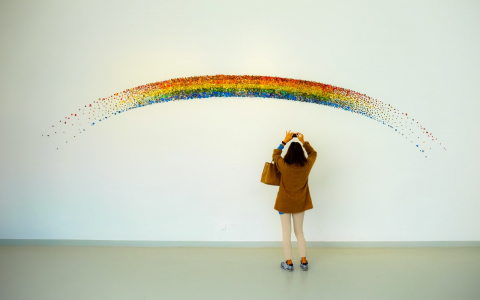 Girl takes picture of rainbow art