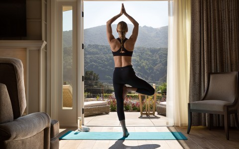 Woman in yoga pose looking out an open door