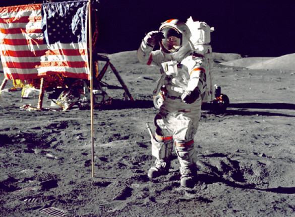 Astronaut on the Moon with American Flag