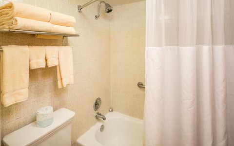 Bathroom with a tub and shower, toilet, and a towel rack under a shelf of towels