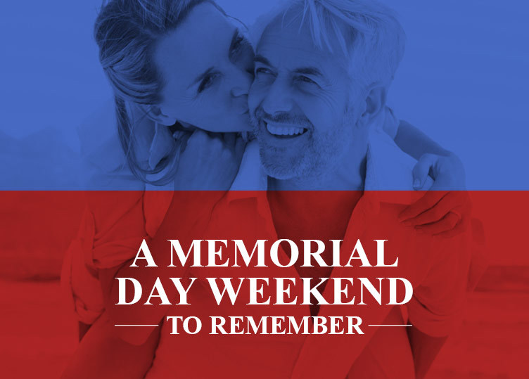 Memorial Day weekend graphic of woman kissing man on the cheek