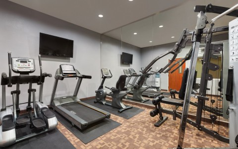 Fitness Center with Treadmill, Stair Stepper and Stationary Bike