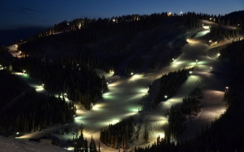 Ski Under the Lights at Night