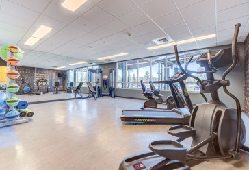 Gym with treadmill, elliptical, weight machines and various exercise equipment